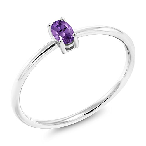 0.20 Ct Oval Purple Amethyst 10K White Gold Solitaire Engagement Ring (Size 6)