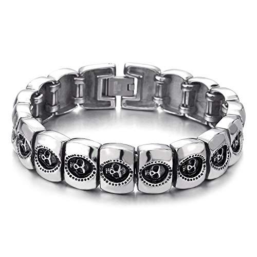 - COOLSTEELANDBEYOND Gothic Rock Punk Mens Skulls Link Charm Chain Bracelet Bangle Wristband Masculine