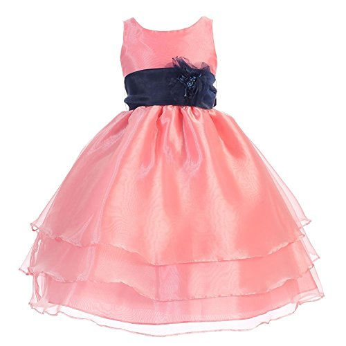 Calla Collection Little Girls Coral Navy Floral Sash Flower Girl Dress 6
