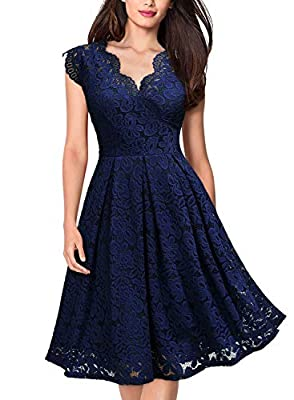 MISSMAY Women's Vintage Floral Lace Short Sleeve V Neck Cocktail Formal Swing Dress