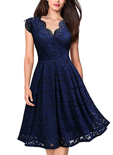 Misses Cocktail Dresses - MISSMAY Women's Vintage Floral Lace Short Sleeve V Neck Cocktail Party Swing Dress Large Navy Blue