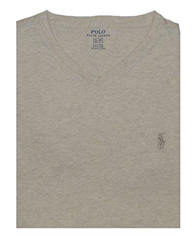 Polo Ralph Lauren Men's Classic Fit V-Neck T-Shirt (Small, Chalk Heather)