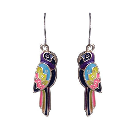 Lureme Colorful Wing Enamel Parrot Pendant Gold Tone French Hook Dangle Earrings for Women (Enamel French Hook Earrings)