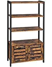 VASAGLE LOWELL Bookshelf, Storage Cabinet with 3 Shelves and 2 Louvered Doors, Bookcase in Living Room, Study, Bedroom, Multifunctional, Industrial, Rustic Brown and Black LSC75BX