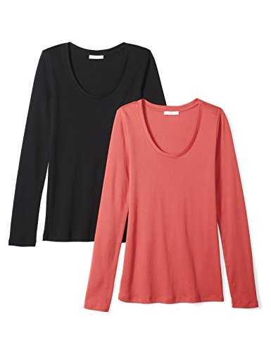 (Daily Ritual Women's Midweight 100% Supima Cotton Rib Knit Long-Sleeve Scoop Neck T-Shirt, 2-Pack, S, Black/Cardinal Red)