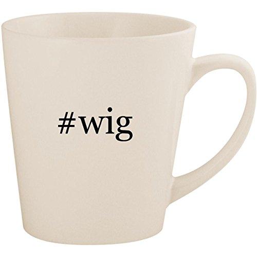#wig - White Hashtag 12oz Ceramic Latte Mug Cup ()