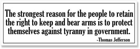 Libertarian Decal American Vinyl Thomas Jefferson Quote I Prefer Dangerous Liberty Bumper Sticker