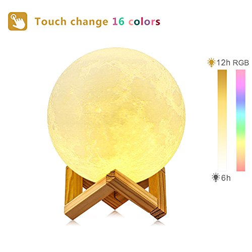 Moon Lamp, 3D Printing Moon Light GDPETS Night Light Kids Gift Sets, Touch& Remote Control 16 Color Decorative Light Lunar LED lamp(4.8 Inch) by GDPETS (Image #2)