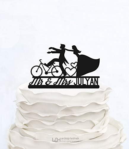Decoración para tarta de Mr & Mrs con el apellido, con silueta de ...