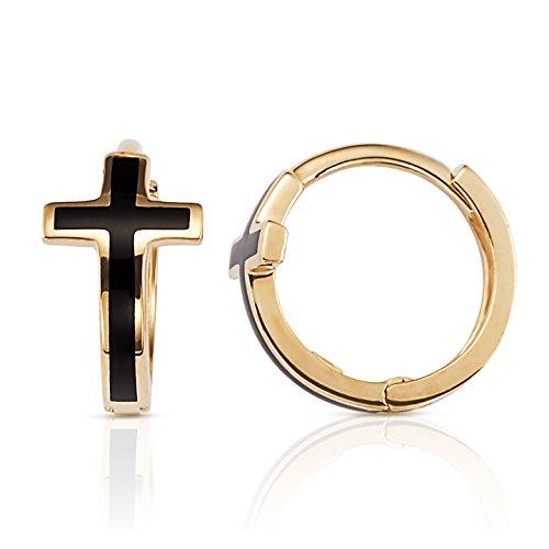 Jewel Connection Solid 14k Gold Huggie Hoop Earrings (Black Enamel Cross)