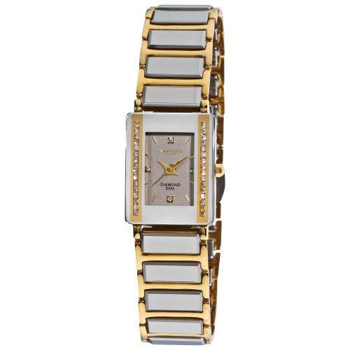 Akribos XXIV Women's AK522YG Ceramic Rectangular Quartz Bracelet Watch