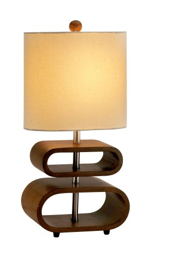 Retro Lamp with Curved Walnut Base & Cream Shade