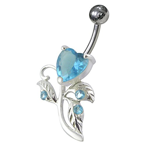 Heart Sterling Silver Belly Button Ring (Light Blue Gemstone Fancy Heart Shaped 925 Sterling Silver with Stainless Steel Belly Button Rings)