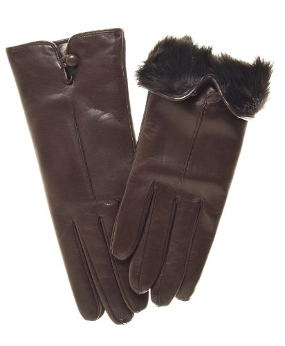Fratelli Orsini Women's Italian Rabbit Fur Lined Gloves with Button Size 7 1/2 Color Brown by Fratelli Orsini