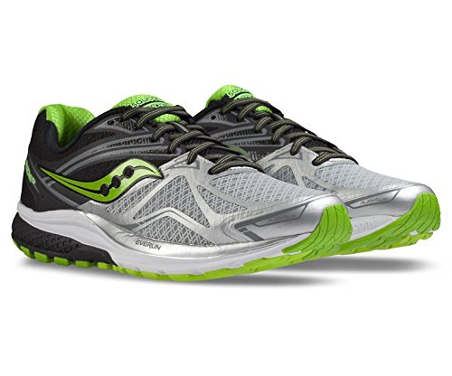 [Saucony Men's Ride 9 Running Shoe, Silver/Black/Lime, 9 M US] (Ride Silver Shoes)