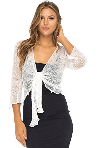 Back From Bali Womens Lightweight Knit Cardigan Shrug Lite Sheer White ()