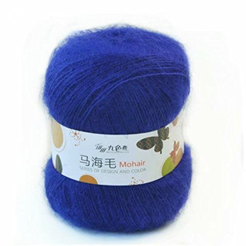 (Celine lin One Skein Soft Natural Angola Mohair Wool Knitting Yarn 50g,Sapphire)