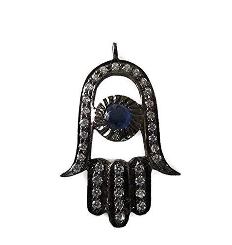 GemsDiamondsbySHIKHA 1 Pc Hamsa Hand with Blue Stone Sterling Silver Connector Charm Pave Diamond Pendant, Hamsa Charm