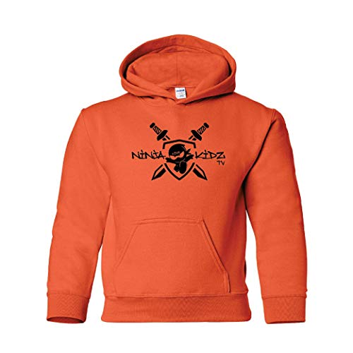 Ninja Kidz¬- Ninja Kidz TV Shield Hoodie: Ninja Kids Hooded Sweatshirt (Orange Youth Medium)