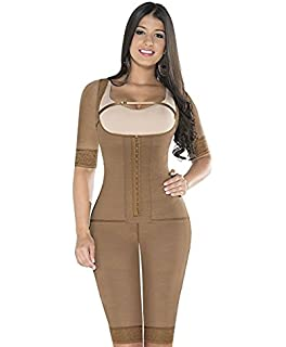 Equilibrium 2 Hooks Fajas Colombianas Post Surgery Shapewear With Sleeves Bodysuit Ref 9002