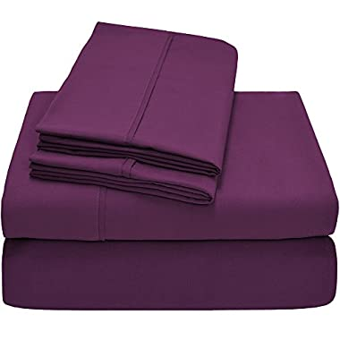 Premium 1800 Ultra-Soft Microfiber Collection King Sheet Set, Hypoallergenic, Easy Care, Wrinkle Resistant, Deep Pocket (King, Plum)