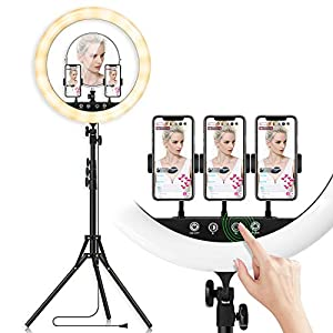 Best Epic Trends 41A442wNjzL._SS300_ 18-inch LED Ring Light with Tripod Stand Photography Kit: Yingnuost Touch & Remote Selfie Lights with Mirror & Dual…