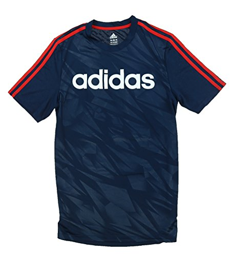 Adidas Boys Lightweight Active Tee Shirt (S-8, Collegiate Navy/Scarlet) - Adidas Lightweight T-shirt