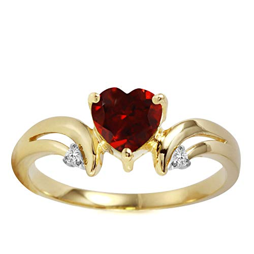 1.26 Carat 14k Solid Gold Ring with Natural Diamonds and Heart-shaped Garnet - Size 9.5 ()