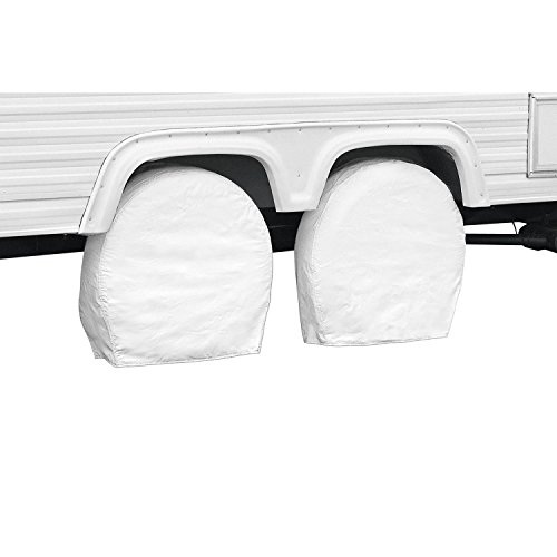 Classic Accessories OverDrive Standard RV & Trailer Wheel Cover, Pair, White, (For 21