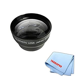 58mm Vivitar 2.2x HD Telephoto Lens With a Tronixpro Microfiber Cloth for Canon T1i, T2i, T3, T3i, T4i, T5, T5i, SL1, 1D, 5D, 5D Mark II, 5D Mark III, 6D, 7D, 10D, 20D, 30D, 40D, 50D, 60D, 70D & More