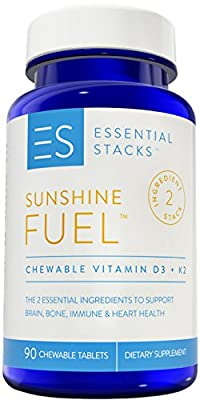 Essential Stacks Vitamin D3 K2 - 2000 IU Vitamin D with K2 (75 mcg) Combination Designed To Support Vitamin D Absorption, Chewable Tablets (3 Month Supply)