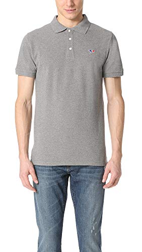 Tri Color Pique Polo - Maison Kitsune Men's Tricolor Fox Patch Polo Shirt, Grey Melange, Small