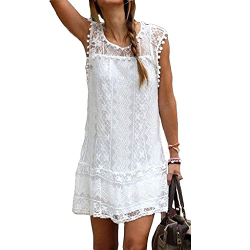 Summer Dress Plus Size Sexy Women Beach Short Tassel Solid White Mini Lace Dress (Sexy Plus Dress)