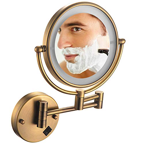 8 Inch Wall Mount Makeup Mirror with Lights and Magnification 5X, Double -