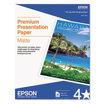 Epson S041257 Premium Matte Presentation Paper, 45 lbs., 8-1/2 x 11 (Pack of 50 Sheets) ()