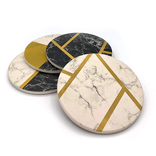 KLONDERMANN Absorbent Stone Coasters for Drinks with Modern Design - Coaster Set of 4 for Fancy Decor and Housewarming Gift ()