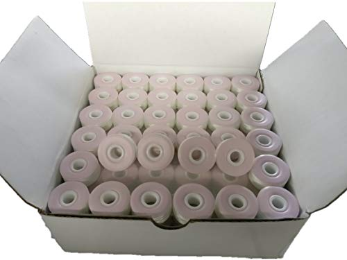 (Prewound bobbin, card board, size L, white color, 144pcs per box, 75D/2 Polyester, Doublelin,For Babylock, Barudan, Bernina, Brother, Consew, Doublelin, Juki, Mitsubishi, Singer, Tajima and many more)