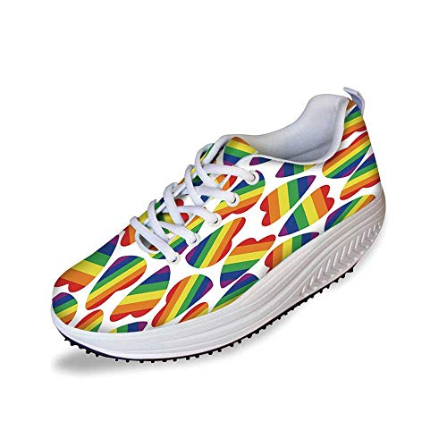 Pride Decorations Stylish Shake Shoes,Cute Heart Shapes in LGBT Colors Striped Design Homosexuality Liberation for Women,11
