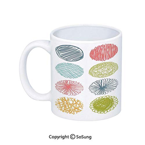 (Abstract Home Decor Coffee Mug,Collection of Doodle Style Scribble Circles Stripes Childish Joyful Illustration,Printed Ceramic Coffee Cup Water Tea Drinks Cup,Orange Coral)