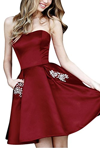 BBCbridal Women's Short Satin Homecoming Dresses Strapless Beaded Formal Party Prom Gowns with Pockets Short Burgundy 6