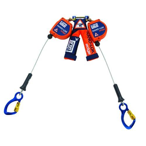 (3M DBI-SALA Nano-Lok Edge 3500229 SRL, 8-Ft, Double-Leg 100 Percent Tie-Off, Leading/Sharp Edge Aluminum Captive Eye Carabiner, Quick Connector for Harness)