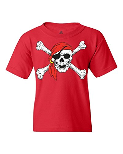 Shop4Ever Pirate Skull & Crossbones Youth's T-Shirt Pirate Flag Shirts Youth X-Small Red 11224 -