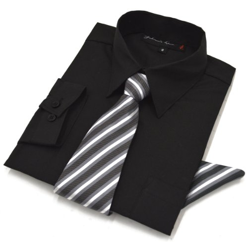 Clothes Black Tie (Boys Dress Shirt with Tie and Handkerchief #JL26 (12, Black))