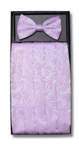 Cumberbund & BowTie LAVENDER PURPLE PAISLEY Design Mens Cummerbund Bow Tie Set