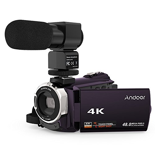 Video Camcorder, Andoer 4K Digital Video Camera 2880 x 2160 48MP HD 3inch Touchscreen Handy Camera with IR Night Sight Support 16X Zoom 128GB Max Storage (Purple+Microphone) by Andoer
