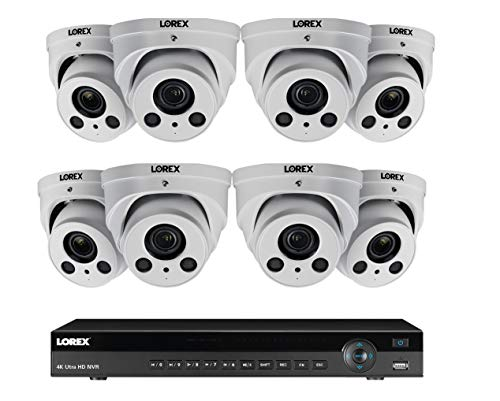 Lorex 8MP 4K Ultra HD IP NR900X Series 2 HDD Slot NVR System with 4K LNE8964AB Audio IP Dome Cameras Package, 4X Optical Zoom, 250FT Night Vision, 16 Channel 3TB NR9163NVR with 8 White Dome Cameras
