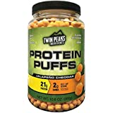 Twin Peaks Ingredients Protein Puffs - Jalapeño Cheddar 300g (10 Servings), 21g Protein, 2g Carbs, 120 Cals, High Protein, Low Carb, Soy Free, Gluten Free, Potato Free - Best Protein Snack