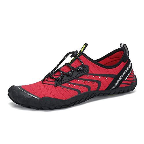 Men's Women's Minimalist Barefoot Wide Toe Box Water Shoes Swim Diving Surf Aqua Sports Pool Beach Waterfall Climbing Walking Fishing River Hiking Running Quick Dry Red 11 M US Women / 9.5 M US Men ()