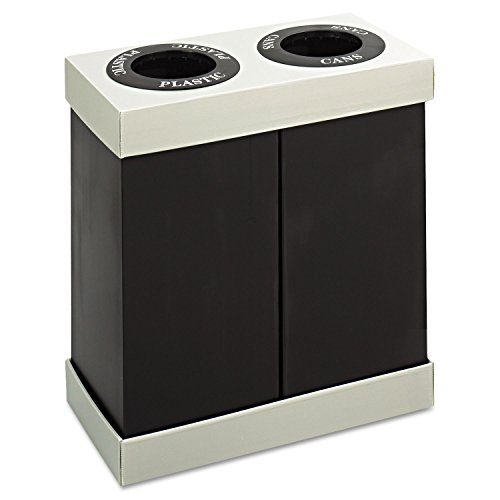 Safco 9794BL At-Your-Disposal Recycling Center Polyethylene Two 28gal Bins Black