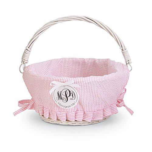 Mud Pie Easter Baby Boy Blue Or Girl Pink Seersucker Wicker Basket (Pink Small) -